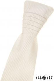 Francúzska kravata smotanovej farby s pruhovanou štruktúrou a vreckovkou
