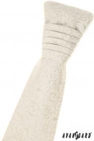 Francúzska kravata smotanovej farby s vreckovkou - strieborný vzor