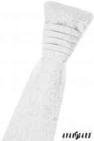 Biela francúzska kravata s lesklými ornamentami