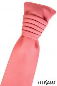 Matná koralová francúzska kravata
