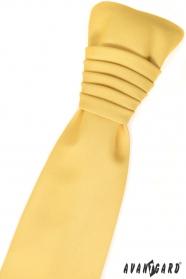 Žltá matná francúzska kravata s vreckovkou