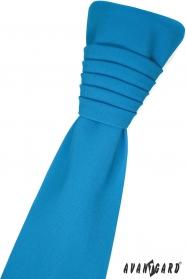 Tyrkysová francúzska kravata s vreckovkou