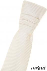 Chlapčenská francúzska kravata smotanová s prúžkom