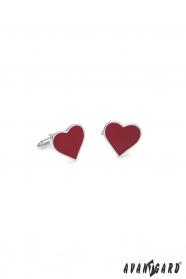 Manžetové gombíky strieborné - červené srdce