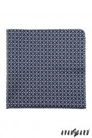 Modrá pánska vreckovka s pravidelnými bielymi kvetmi
