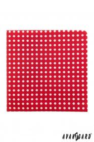 Červená vreckovka s bielymi bodkami