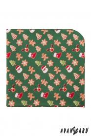Zelená vreckovka s vianočným vzorom