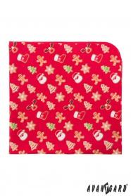 Červená vreckovka so vzorom vianočné perníčky