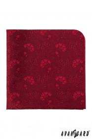 Pánska vreckovka červená kvetinový vzor