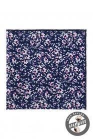 Tmavo modrá vreckovka s ružovými kvetmi