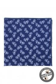Modrá bavlnená vreckovka vzor bicykel