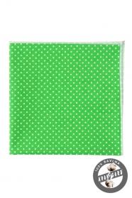 Pánska vreckovka zelená s bielymi bodkami