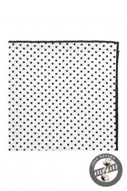 Bavlnená pánska vreckovka biela s čiernymi bodkami