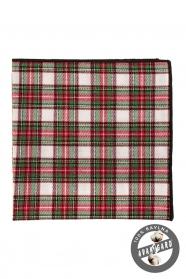 Pánska vreckovka z bavlny zelená červená biela