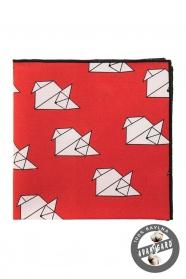 """Bavlnená vreckovka červená """"origami"""""""