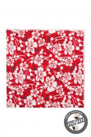 Bavlnená vreckovka červená biele kvety
