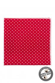 Bavlnená vreckovka červená biela bodka