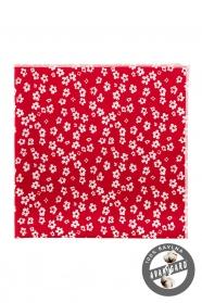 Červená pánska vreckovka do saka biele kvety