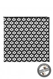 Výrazná čierna pánska vreckovka z bavlny - biele kvety