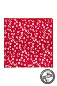 Červená bavlnená vreckovka rôzne veľké biele kvety