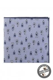 Modrý bavlnená pánska vreckovka - Správa vo fľaši