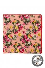 Bavlnená pánska vreckovka Žlté a ružové kvety