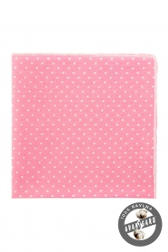 Ružová vreckovka s bielymi bodkami