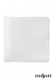 Biela pánska vreckovka s prúžkami