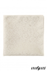 Krémová pánska vreckovka lesklé ornamenty