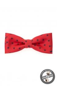 Motýlik bavlnený červený modré hviezdičky