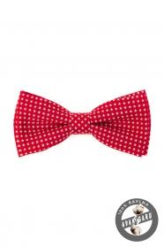 Červený pánsky motýlik z bavlny biele hvezdy