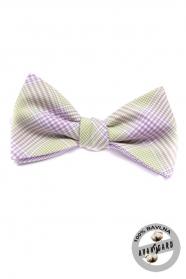 Viazací motýlik fialový kockovaný - Bavlna