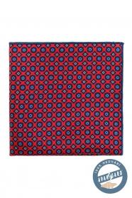 Červená vreckovka hodvábna modrý vzor