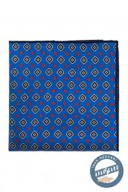 Modrá hodvábna vreckovka s farebným vzorom