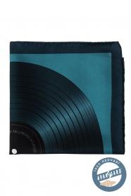 Hodvábna modrá vreckovka gramofónová doska
