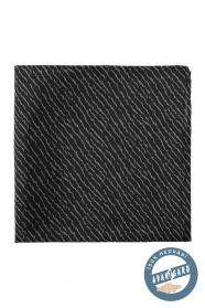 Čierna hodvábna vreckovka s šedým vzorom