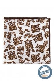 Hodvábna vreckovka s hnedým motívom Paisley