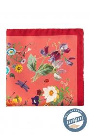 Hodvábná vreckovka s kvetinovým vzorom - Korálová farba