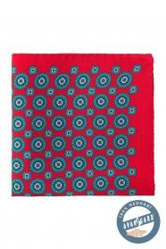 Červená pánska vreckovka hodvábna s modrým vzorom