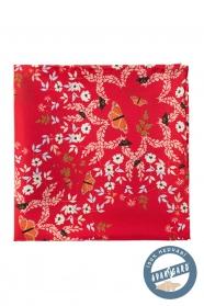 Hodvábna vreckovka s kvetinovým a motýlovým vzorom - červená