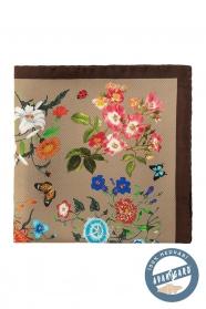 Hodvábna vreckovka s kvetmi a motýľmi - hnedá, béžová