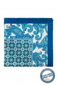 Hodvábna modrá vreckovka s kvetinovým vzorom a kockou