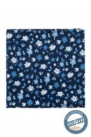 Modrá vreckovka hodvábna kvetovaná
