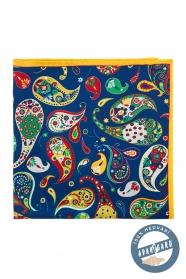 Farebná hodvábna vreckovka vzor Paisley