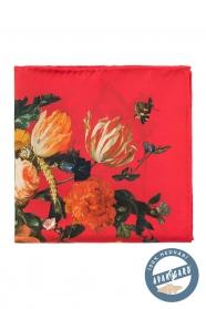 Červená kvetovaná hodvábna vreckovka pre mužov