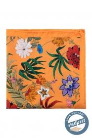 Oranžová hodvábna vreckovka s kvetmi