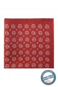 Tehlovo červená hodvábna pánska vreckovka kvetovaná
