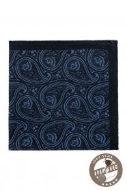 Tmavomodrá Paisley vlnená vreckovka