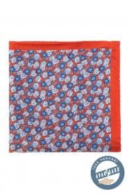 Oranžovo-modrá kvetovaná hodvábna vreckovka