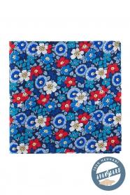 Kvetovaná vreckovka hodvábna modrá červená